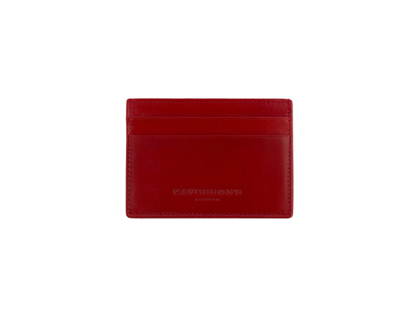 medina red bridle leather card case front