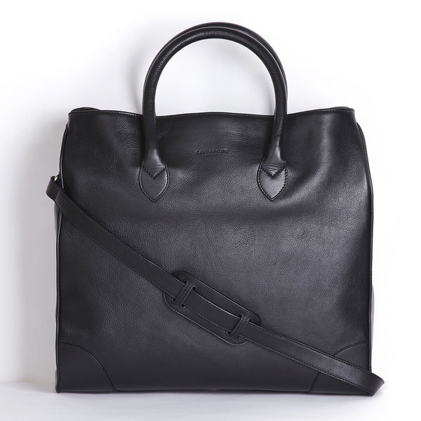 winterbourne black calf leather tote bag front