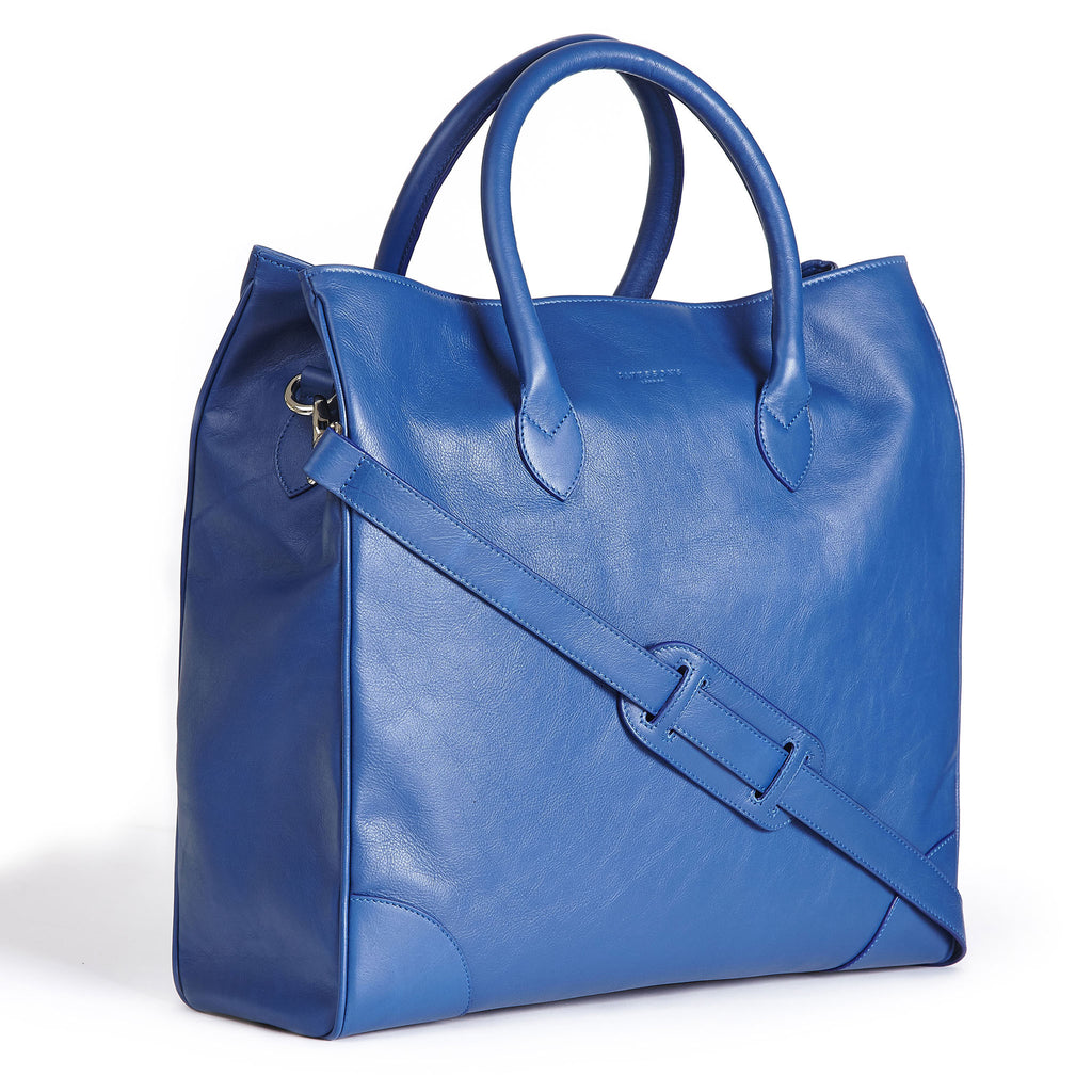 winterbourne blue calf leather tote bag side