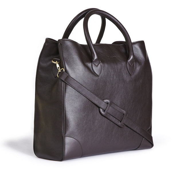 winterbourne brown calf leather tote bag side