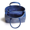 winterbourne blue and peacock calf leather tote bag