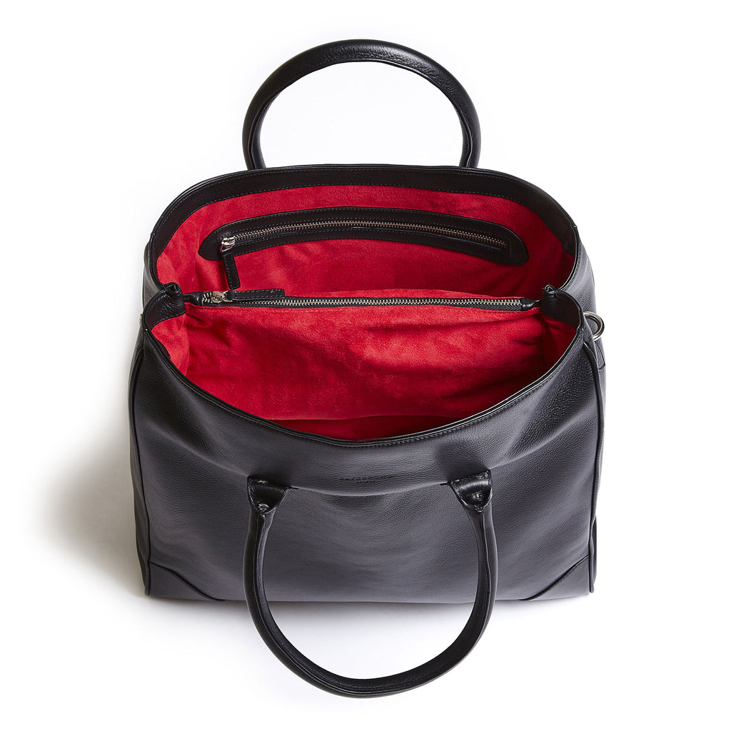 winterbourne black and red calf leather tote bag