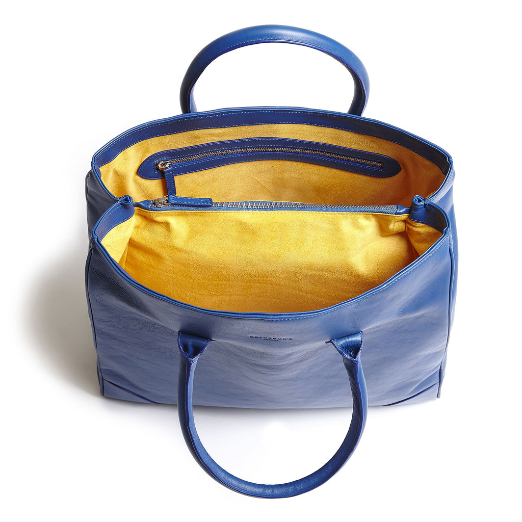 winterbourne blue and yellow calf leather tote bag