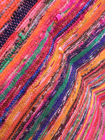 Indian Chindi Rag Rug Multi Coloured Fringed (110cm x 160cm)