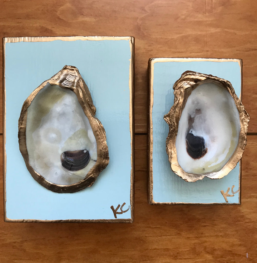 Single Oyster Art XS - Palest Blue- Katie Chalk