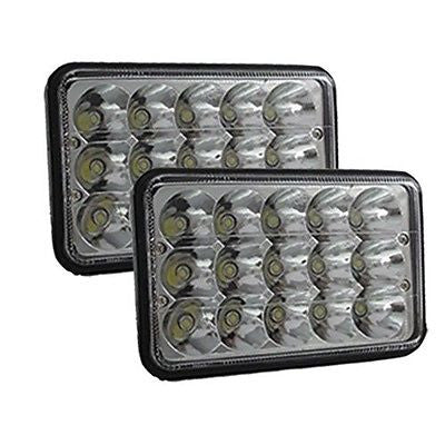"4""x6"" H4 15 LED LIGHT CLEAR SEALED BEAM CRYSTAL HEADLAMPS HEADLIGHTS IP67 - Mr. Motorsports"
