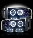 Headlights - Projector Dodge RAM 02-05 LED Halos & DRLs SMOKED Part # 264191BK - Mr. Motorsports