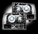 Headlights - Projector Fits Ford Superduty & Excursion 99-04  LED Halos & DRLs CLEAR Part # 264192CL - Mr. Motorsports