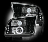 Ford Mustang 05-09 PROJECTOR HEADLIGHTS w LED Halos & DRLs - Smoked Lens - Mr. Motorsports