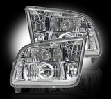 Projector Headlights - CLEAR Fits Ford Mustang 05-09 LED Halos & DRLs Part # 264197CL - Mr. Motorsports