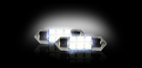 WHITE LED Bulb 6418 10mm x 35mm (6 LED's) High-Power 1-Watt   Part # 264215WH - Mr. Motorsports