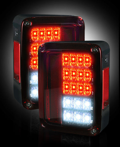 Tail Lights Jeep Wrangler 2007-2016 - RED SMOKED LED  Part # 264234RBK - Mr. Motorsports