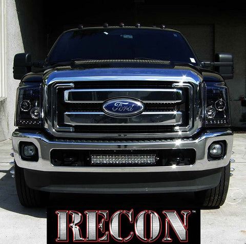Headlights - Projector SMOKED Fits Ford Superduty 11-16  LED Halos & DRLs  Part # 264272BK - Mr. Motorsports