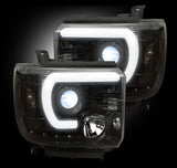 Headlights - Projector SMOKED GMC Sierra & Denali 14-16 Smooth OLED Technology Part # 264295BKC - Mr. Motorsports