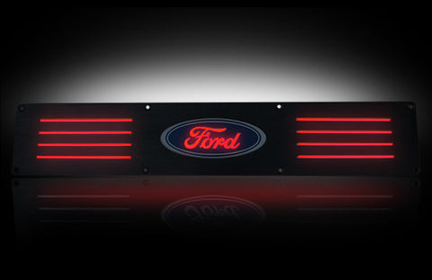 Door Sill - Black Anodized Rear-Red Illumination Fits Ford 09-14 F-150 & RAPTOR - Mr. Motorsports