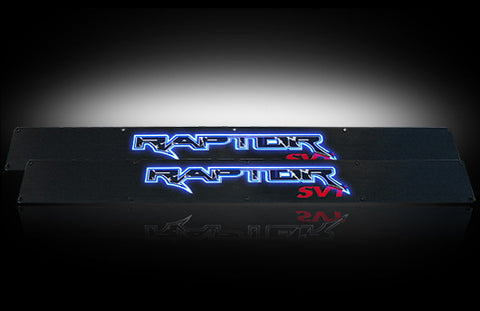 Billet Door Sill - Black Anodized Fits Ford RAPTOR 09-14  - Blue Illumination Part # 264421FDBK - Mr. Motorsports