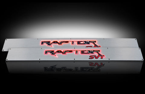 Billet Door Sill - Brushed Fits Ford RAPTOR 09-14  - Red Illumination Part # 264421FDRD - Mr. Motorsports