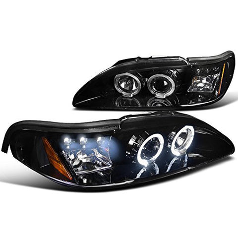 Projector Headlights Fits Ford Mustang Dual Halo Led Glossy Black Spec-D Tuning 2LHP-MST94G-TM - Mr. Motorsports