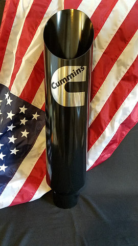 "Diesel Exhaust Stack 5"" In x 8"" Out x 36"" Long Gloss Black With Custom Logo Angle Cut  (508-36) - Mr. Motorsports"