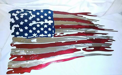 Large American Flag Metal Sign Powder Coated 3 colors - 30 x 18 **FREE SHIPPING** - Mr. Motorsports