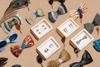 BRACKISH - Impeccible, Unique Feather Bow Ties, Cummerbunds & Lapel Pins