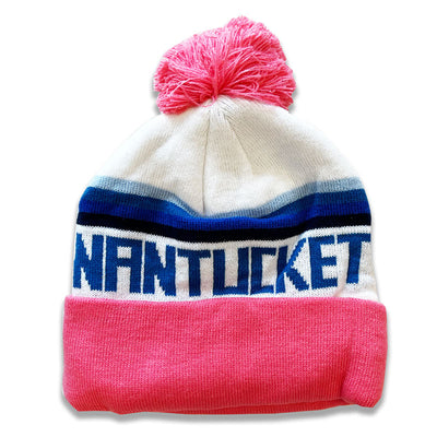 Maisy: Pink with Stripes Nantucket Winter Hat