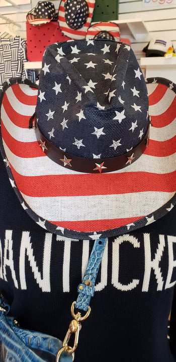 Nantucket Bookstore Hat American FLAG COWBOY HAT