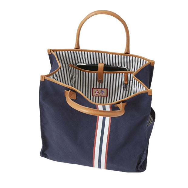 Canvas Tote Bag with Black and Red Stripe
