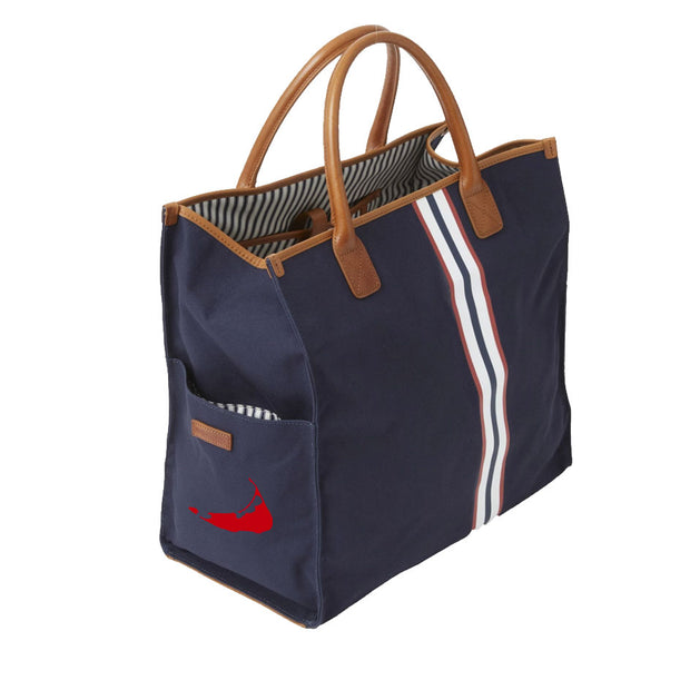 Navy Tote Bag with Navy and Red Stripe