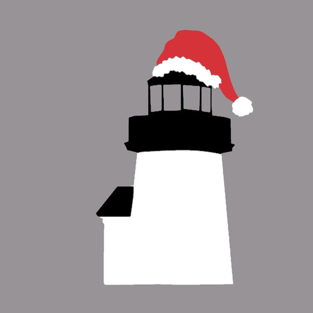 Brant Point Lighthouse with Santa Hat - Short Sleeve Tee Shirt