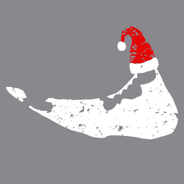 Nantucket with Santa Hat Grey Long Sleeve Tee Shirt