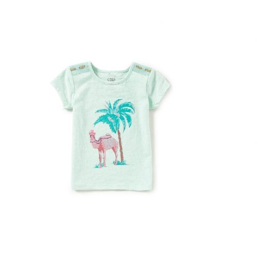 egg baby girls TARA MINT PALM TREE GRAPHIC TEE