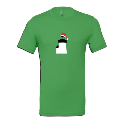 Brant Point Lighthouse with Santa Hat - Kelly Green Short Sleeve Tee Shirt