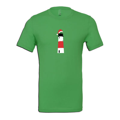 Sankaty Lighthouse with Santa Hat - Kelly Green Short Sleeve Tee Shirt