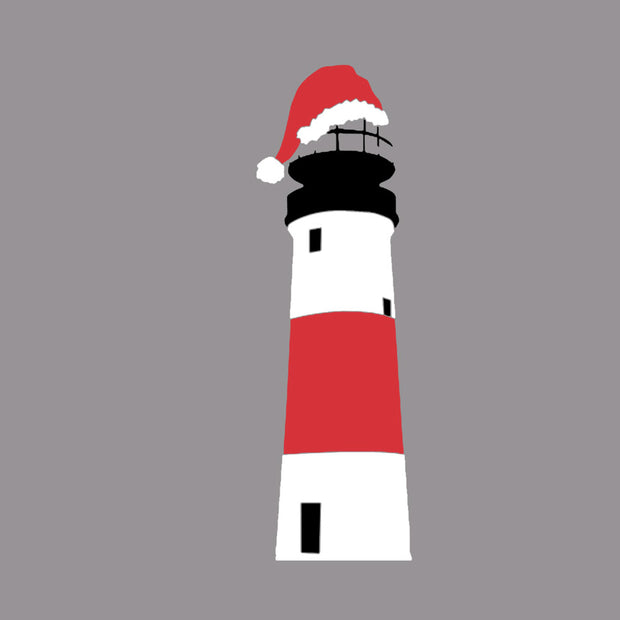 Sankaty Lighthouse with Santa Hat - Short Sleeve Tee