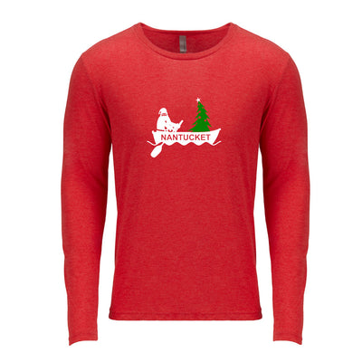 Santa Rowing on Nantucket - Red Long Sleeve Tee Shirt