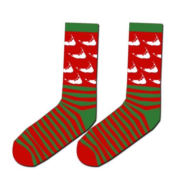 Red & Green Striped Nantucket Socks
