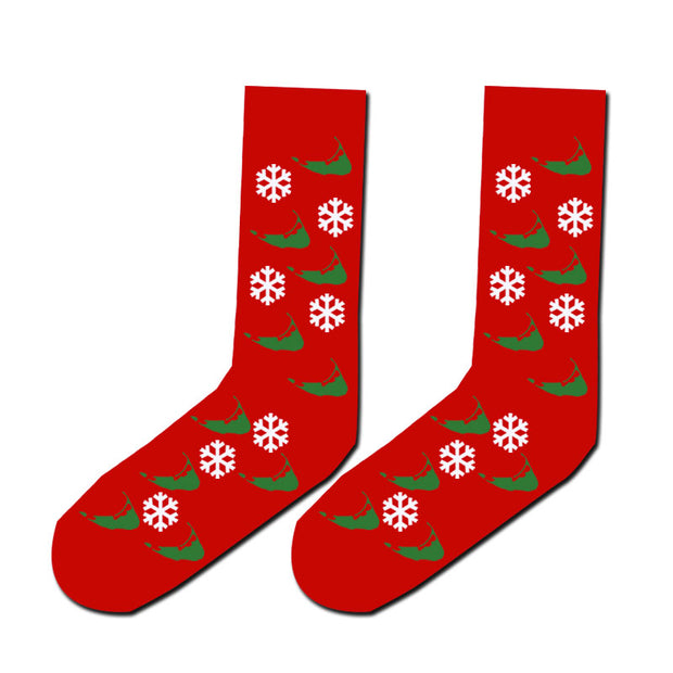 Red Sock with snowflakes and Nantucket island