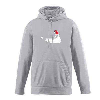 Santa Hat on Island - Hooded Grey Sweatshirt