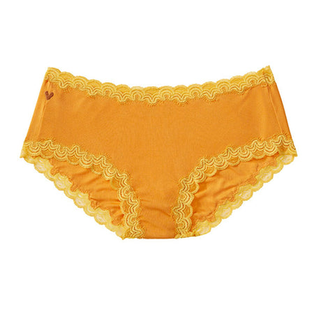 Soft silk hipster with contrast scallop lace trim