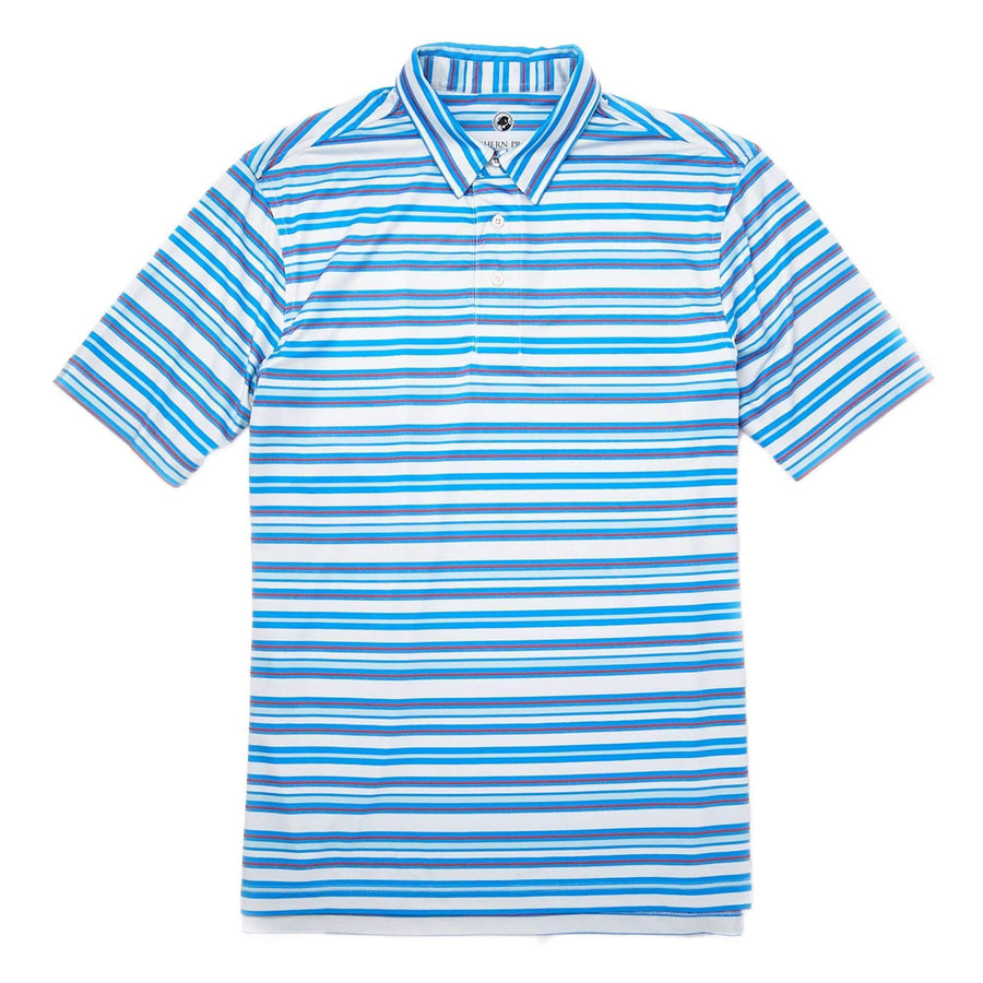 Southern Proper - Performance Polo: Sky Blue Stripe