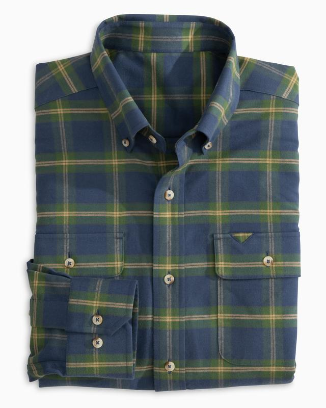 Southern Tide M Long Sleeve Oltorf Plaid Work Shirt & 5007