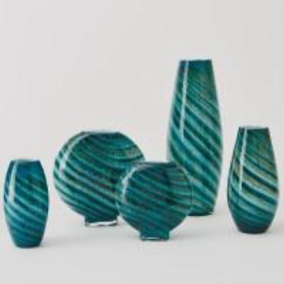 Aqua Green Swirl Vase - Medium
