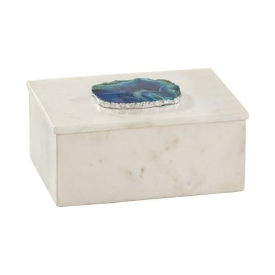 Marble and Blue Agate Box - Large