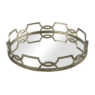 Hucknall Iron Scroll Mirrored Tray - Small
