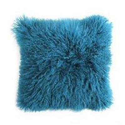 Tibetan Sheep Hide Pillow - Teal