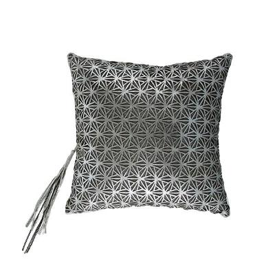Silver Leather Overlay Pillow
