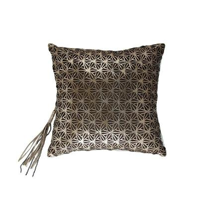Gold Leather Overlay Pillow