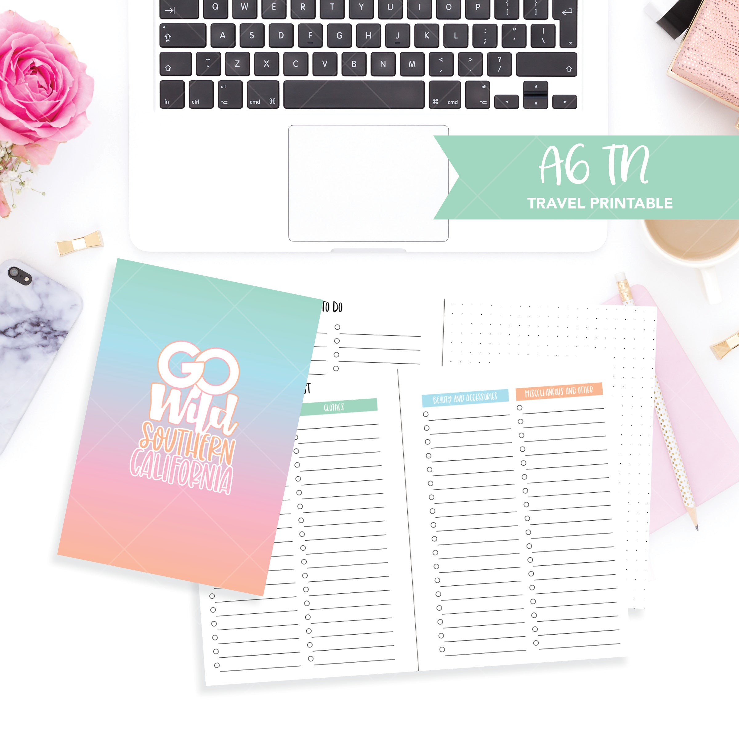 A6 Travelers Notebook Printable / Instant Download // Go Wild Travel