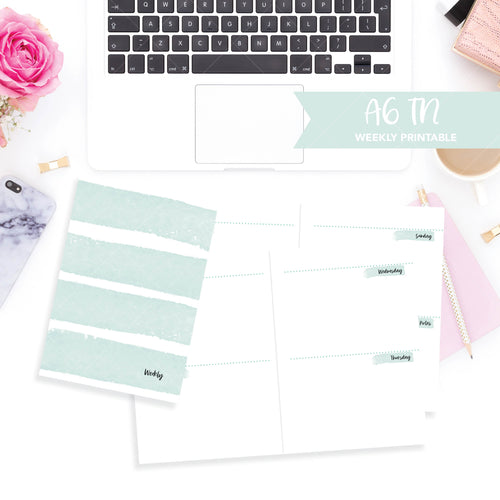 A6 Travelers Notebook Printable / Instant Download // Horizontal Weekly // Watercolor Mint